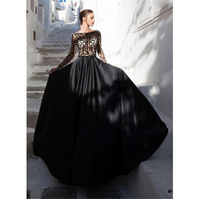 A Line Bateau Neckline Long Sleeve Black Satin Tulle Beaded Prom Dress