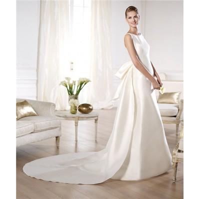 A Line Bateau Neckline Low V Back Satin Wedding Dress With Detachable Train Bow