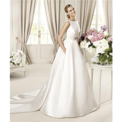 A Line Bateau Neckline V Back Satin Wedding Dress With Detachable Train Bows Buttons