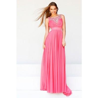 A Line Boat Neckline Long Watermelon Draped Chiffon Beaded Evening Prom Dress