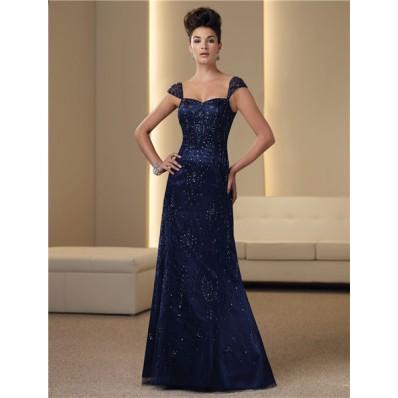 A Line Cap Sleeve Navy Blue Satin Chiffon Beaded Mother Of The Bride Evening Dress