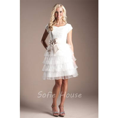 A Line Cap Sleeve Short White Tulle Tiered Modest Prom Dress With Bow Sash