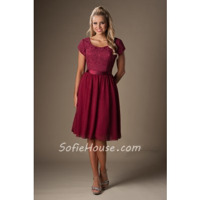 A Line Cap Sleeves Burgundy Chiffon Lace Short Bridesmaid Dress With Sash