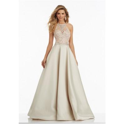 A Line Halter Long Champagne Satin Beaded Prom Dress Criss Cross Straps