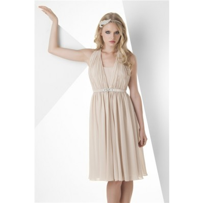 A Line Halter Short Champagne Chiffon Graduation Party Bridesmaid Dress Beaded Belt