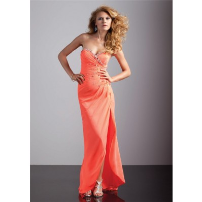 A-Line/Princess sweetheart coral chiffon high low prom dress with beading