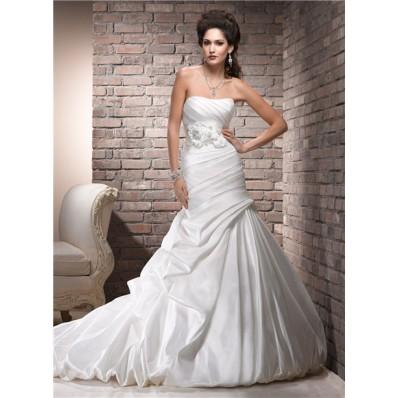 a line strapless corset back ruched taffeta wedding dress