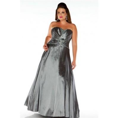 A Line Strapless Long Charcoal Grey Taffeta Beaded Plus Size Evening Prom Dress