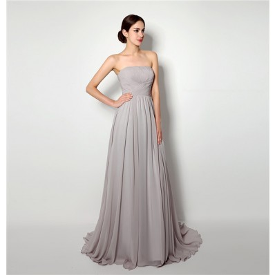 A Line Strapless Long Grey Chiffon Ruched Corset Bridesmaid Evening Dress