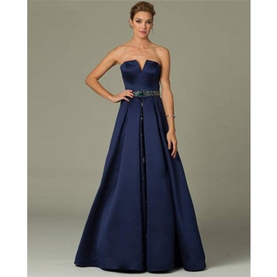 A Line Strapless Long Navy Blue Satin Beaded Belt Formal
