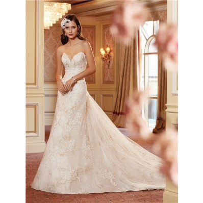 a line strapless sweetheart corset back lace wedding dress