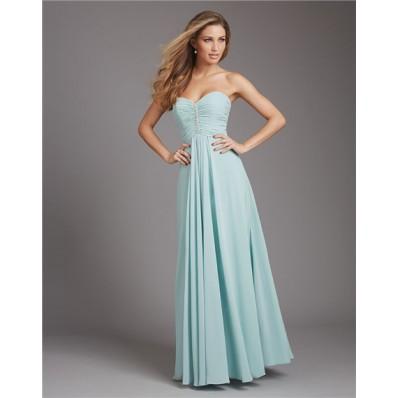 A Line Sweetheart Long Light Blue Chiffon Ruched Wedding Guest Bridesmaid Dress