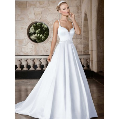 A Line Sweetheart Low Back Satin Wedding Dress With Beading Sash Straps
