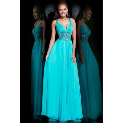 Line Sweetheart Open Back Long Turquoise Chiffon Beaded Prom Dress ...