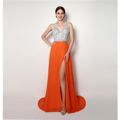 A Line V Neck Backless High Slit Long Orange Chiffon Beaded Prom Dress