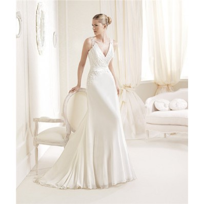 A Line V Neck Illusion Back Chiffon Lace Wedding Dress With Straps