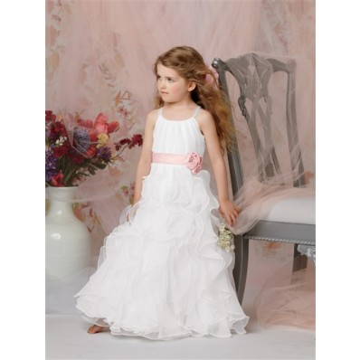 A-line Princess Scoop Floor Length White Organza Flower Girl Dress With Pink Sash Flowers