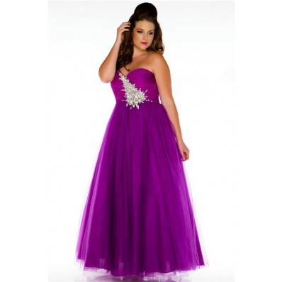 A line Sweetheart Long Purple Tulle Beaded Plus Size Prom Dress Corset Back