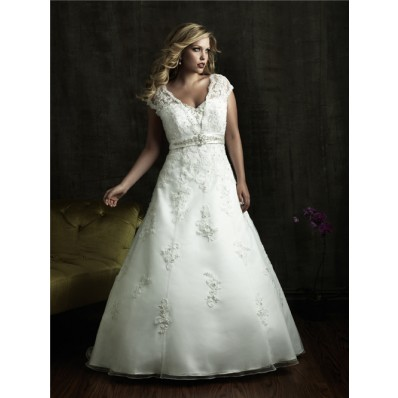 A line v neck court train modest designer lace plus size wedding dresses with beading