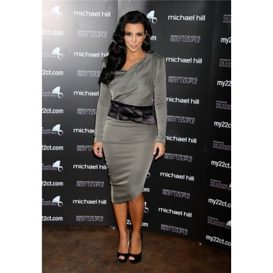 Asymmetric Tea Length Grey kim kardashian Dress With Long Sleeve