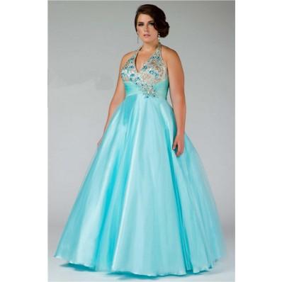 Ball Gown Halter Empire Waist Long Aqua Blue Beaded Plus Size Prom Dress