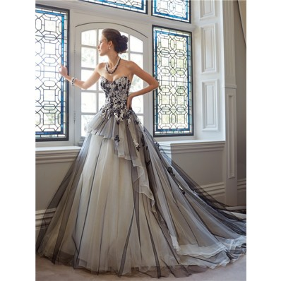 ball gown strapless sweetheart white and black tulle lace