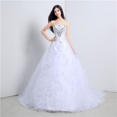 Ball Gown Strapless Tulle Ruffle Applique Corset Wedding Dress With Crystals