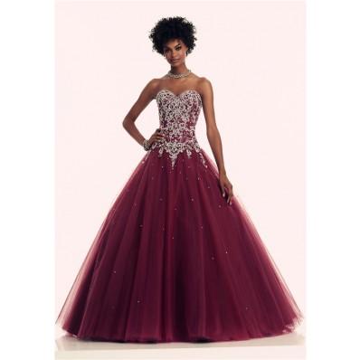 Ball Gown Sweetheart Corset Back Burgundy Tulle Beaded Prom Dress