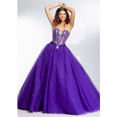 ball gown sweetheart corset back deep purple satin tulle