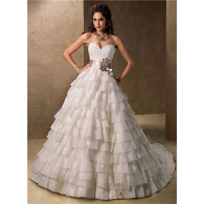 Ball gown sweetheart layered organza ruffle wedding dress for Organza layered wedding dress