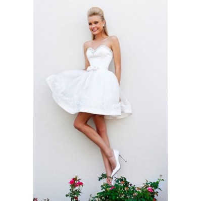 Gown Sweetheart Short White Satin Organza Lace Beaded Prom Dress ...