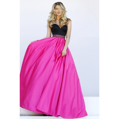 Beautiful A Line Sweetheart Black And Hot Pink Satin Prom