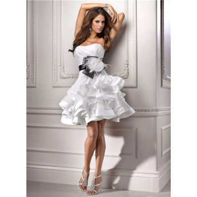 Casual Ball Strapless Informal Short Mini Organza Wedding Dress With Flower Feather