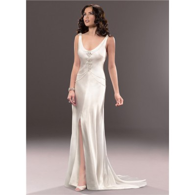 Casual Sexy Sheath Open Back Ivory Satin Wedding Dress