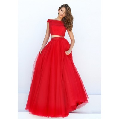 Charming A Line Off The Shoulder Two Piece Red Tulle Pearl Beaded Prom Dress