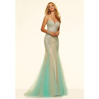 charming mermaid strapless corset nude satin aqua tulle
