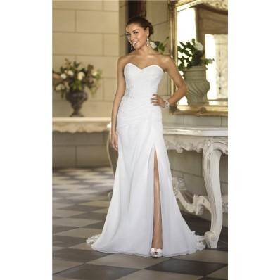 charming strapless chiffon ruched corset garden wedding