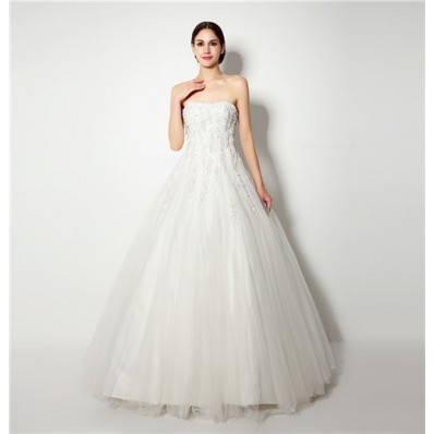 Classic Ball Gown Strapless Tulle Applique Corset Wedding Dress With Flowers