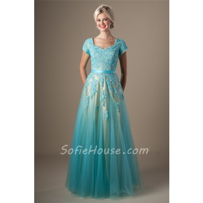 Cute A Line Long Light Blue Tulle Lace Beaded Modest Prom Dress Corset Back