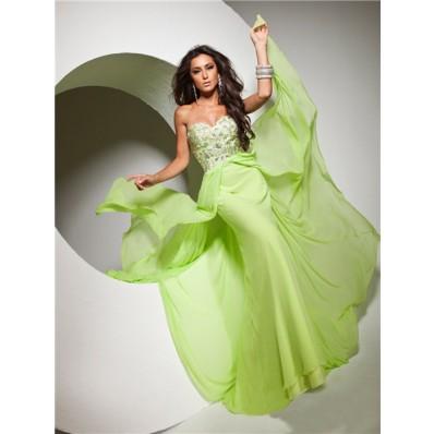 Cute Flowy Sweetheart Floor Length Lime Green Chiffon Prom Dress With Beading