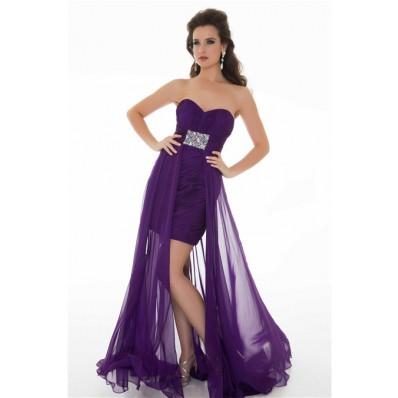 912dfe7e6c Cute Sheath Strapless Long Purple Chiffon Homecoming Prom Dress With Beading