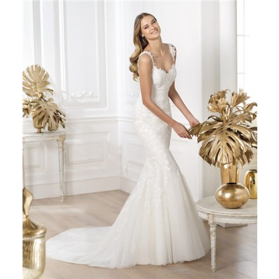 Designer Mermaid V Neck Low Back Tulle Lace Wedding Dress With Straps