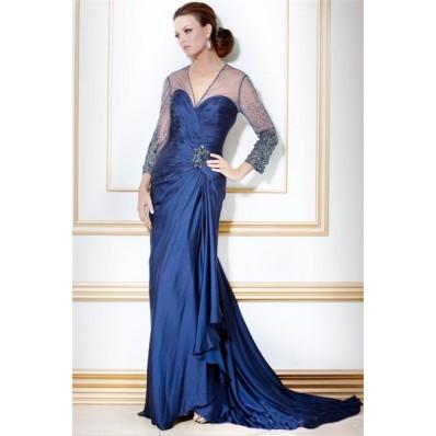 Designer V Neck Long Navy Blue Silk Beaded Sleeve Evening