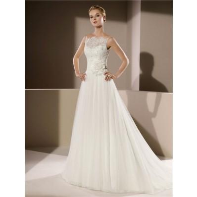 Elegant A Line Scalloped Neckline Low V Back Lace Tulle Wedding Dress Spaghetti Straps