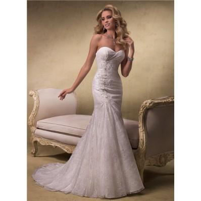 elegant a line strapless sweetheart lace wedding dress