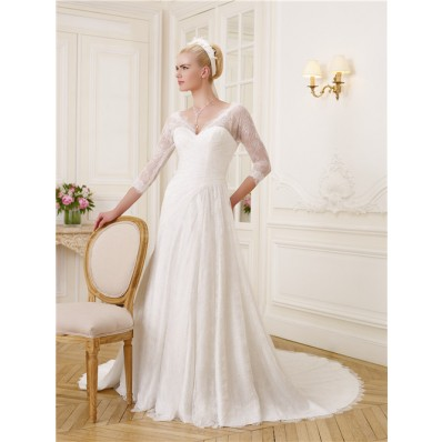 Elegant A Line V Neck And Back 3/4 Length Sleeve Lace Wedding Dress