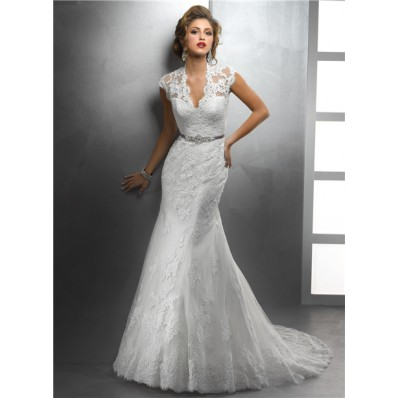 aea21fa15c Elegant Mermaid Scalloped V Neck Vintage Lace Modest Wedding Dress With  Crystal Sash Buttons