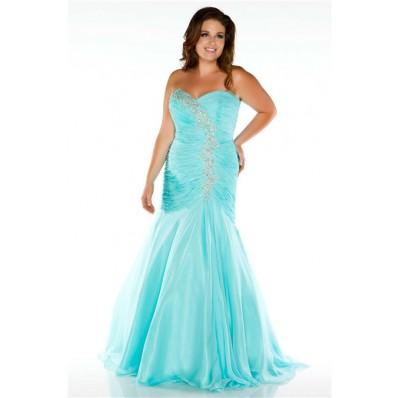Elegant Mermaid Sweetheart Long Aqua Blue Chiffon Beaded Plus Size Prom Dress