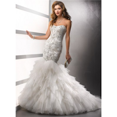 Elegant Mermaid Sweetheart Satin Tulle Wedding Dress With Beading Crystals