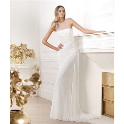 Elegant Sheath Sheer Illusion Scoop Neckline Tulle Chiffon Beaded Sequin Wedding Dress